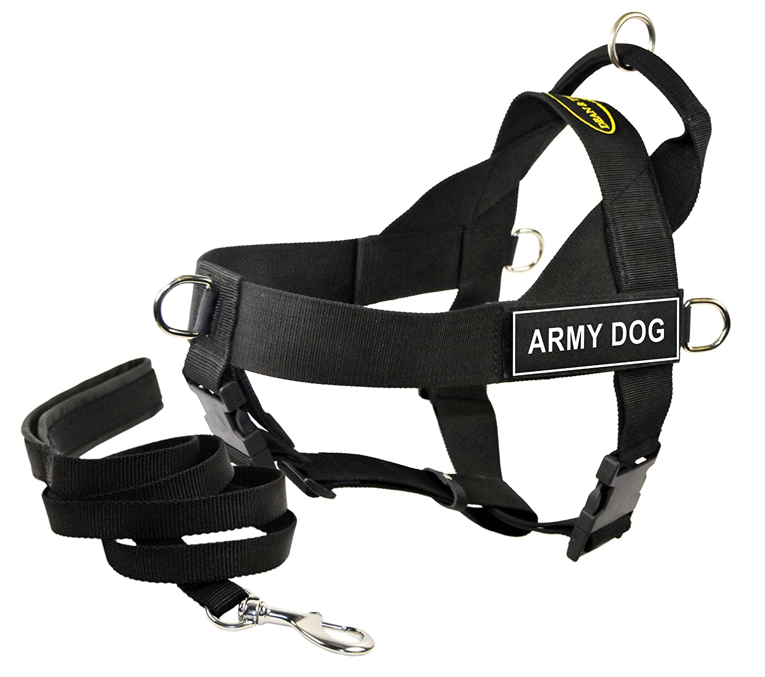 Dean & Tyler's DT Universal Army Dog  Harness, X-Small, with 6 ft Padded Puppy Leash.