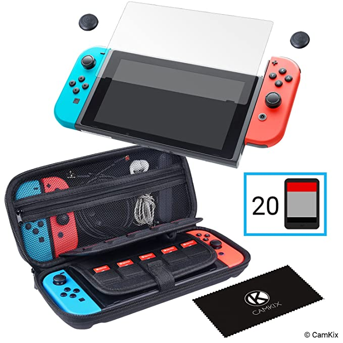 CamKix Juego de protección 4-en-1, compatible con Nintendo Switch: Caja de nylon duro con 20 insertos de tarjeta de juego, protector de pantalla de ...