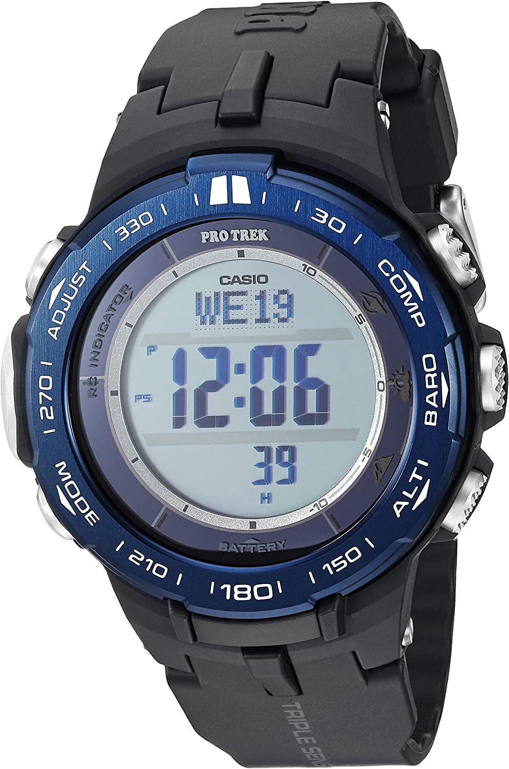 Casio Men s Pro Trek Stainless Steel Quartz Watch with Resin Strap, Black, 23 Model PRW-3100YB-1CR