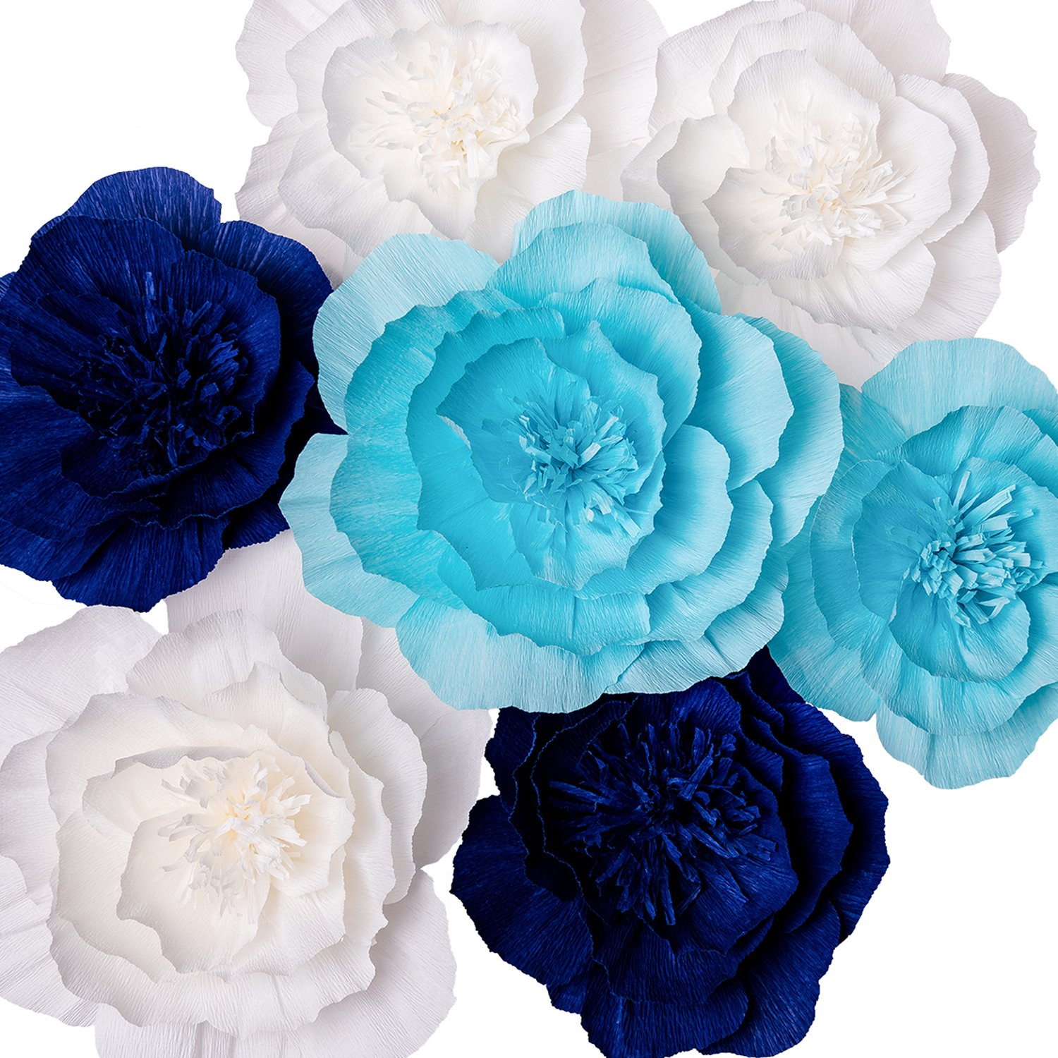 Paper Flower Decorations, Giant Paper Flowers (Navy Blue, Light Blue, White, Set of 7), Large Paper Flowers, Crepe Paper Flowers for Wedding, Nursery Wall Decorations, Baby Shower, Bridal Shower