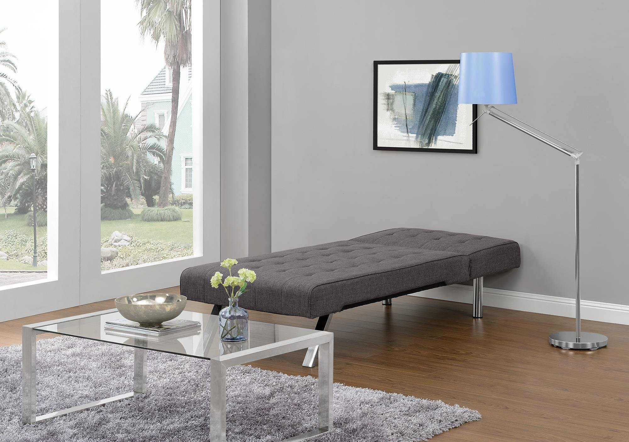DHP Emily Linen Chaise Lounger, Stylish Design with Chrome Legs, Grey by DHP (Image #4)
