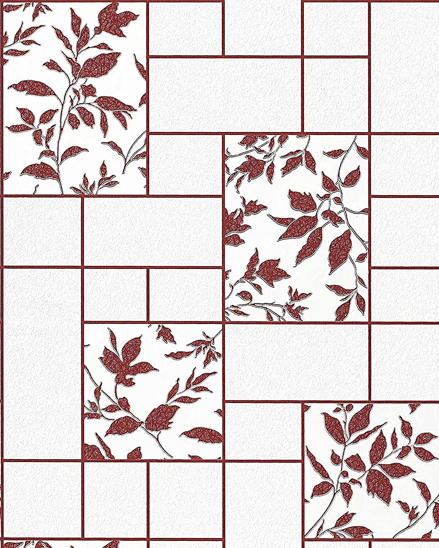 Merveilleux Amazon.com: Kitchen Bath Vinyl Wallpaper Wall Modern Tile Floral Decor EDEM  146 24 White Red Maroon Silver Glitter 5.33 Sqm (57 Sq Ft): Home U0026 Kitchen