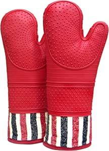 RED LMLDETA Heat Resistant 550 Degree Oven mitt, Silicone Oven Hot Mitts - 1 Pair, Extra Long Professional Baking Oven Gloves - Food Safe,Pot Holders Cooking,Grilling,Kitchen (red)