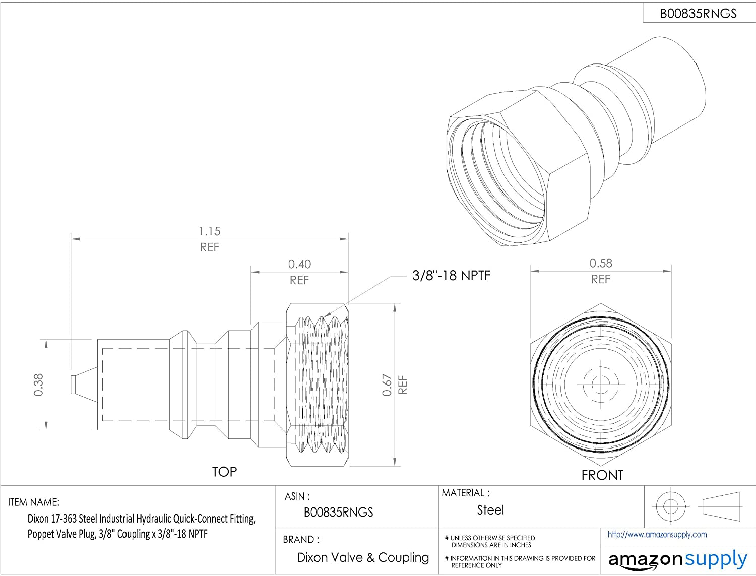 Dixon 17 863 Steel Industrial Hydraulic Quick Connect Fitting Lawn Mower Wiring Diagram Free Download Poppet Valve Plug 1 Coupling X 11 2 Nptf Hose Fittings