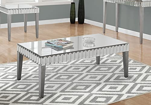 Monarch Specialties I 3720 Accent Cocktail Coffee Table, 48 x 24 x 18 , Brushed Silver Mirrored