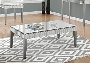 Amazoncom Monarch Coffee Table Brushed Silver 48 x 24