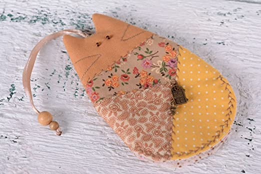 Guardallaves de tela con forma de gato hecho a mano llavero ...