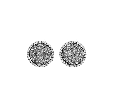 3d57eca940f10 Tuscany Silver Women s Sterling Silver Rhodium Plated 7 mm Stardust Circle  Stud Earrings