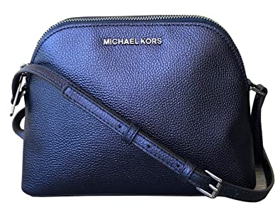 9217cfc895c2f3 Michael Kors Adele Iridescent Leather Medium Dome Crossbody  (Midnight/gunmetal)