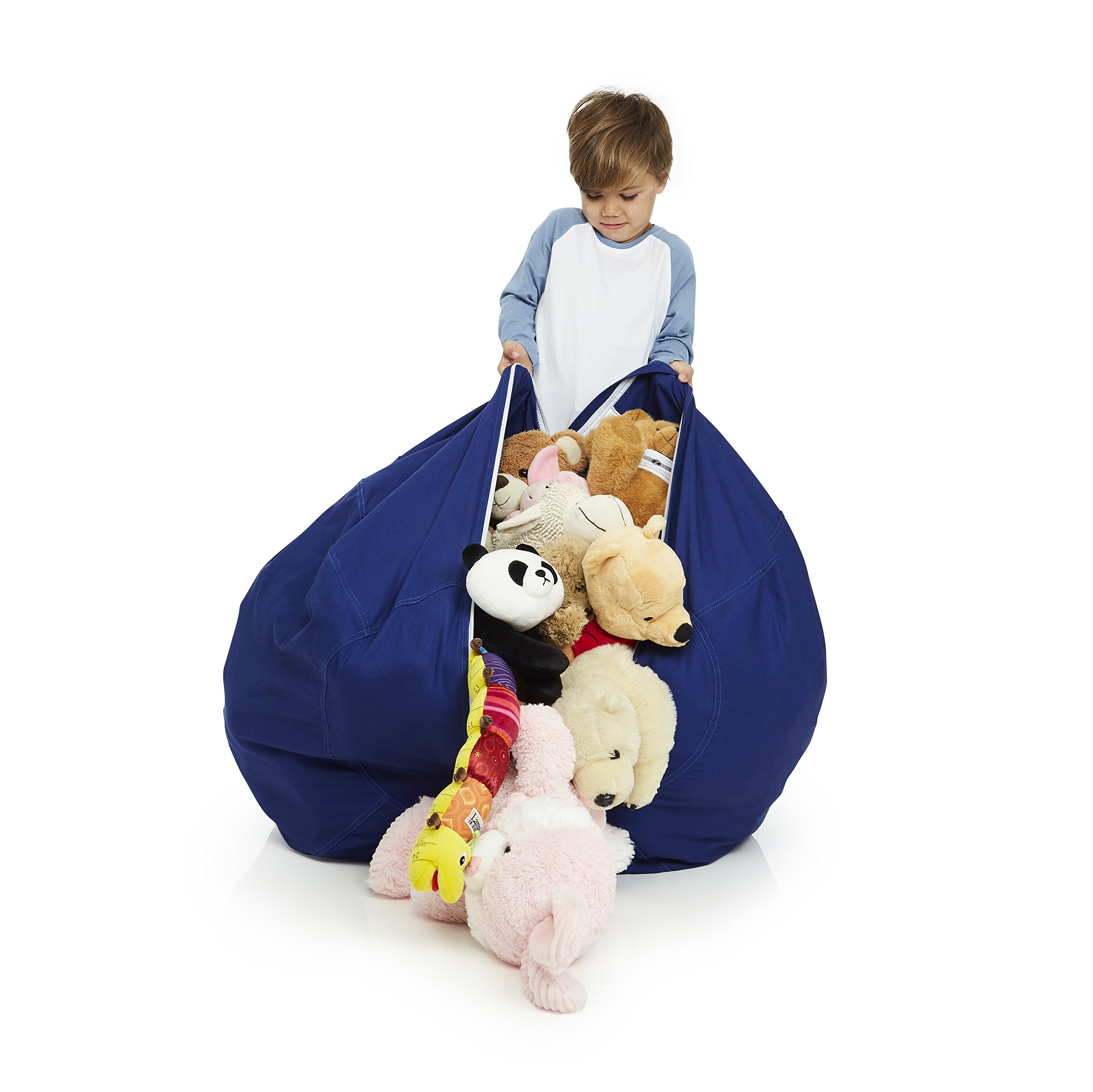 Delmach Stuffed Animal Storage Bean Bag Chair | 38'' Width Extra Large | Premium Double Stitched Cotton Canvas | Kids Blue Bean Bag Cover by Delmach (Image #2)