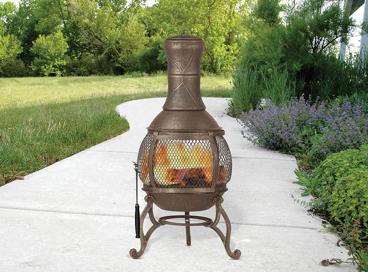Cast Iron Chiminea Fireplace Compact Patio Fire Pit Outdoor Wire Mesh Screen 360 Degree View Heat Distribution Easy Refuel Small 35 Inch High Log Wood Burning by Patio Joy