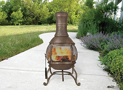 Cast Iron Chiminea Fireplace Compact Patio Fire Pit Outdoor Wire Mesh Screen 360 Degree View Heat & Amazon.com : Cast Iron Chiminea Fireplace Compact Patio Fire Pit ...