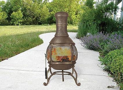 Amazon Com Cast Iron Chiminea Fireplace Compact Patio Fire Pit