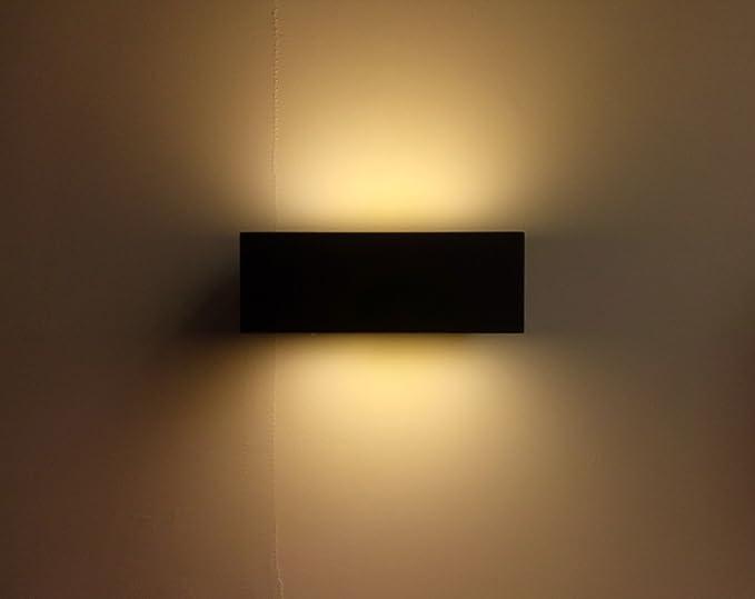 Hlt applique da parete impermeabile a led nera w lampada a muro