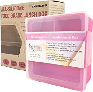 Eco Lunch box for Kids and Adults | All Silicone Lunch Containers with Dividers | Kids lunch container | Microwave, Dishwasher and Freezer Safe | The Parent Diary (Pink, Three Compartment)