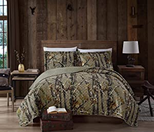Chezmoi Collection Salem 3-Piece Forest Woods Pre-Washed Quilt Set - Nature Camo Tree Leaves Printed Soft Microfiber Bedspread - Natural, King