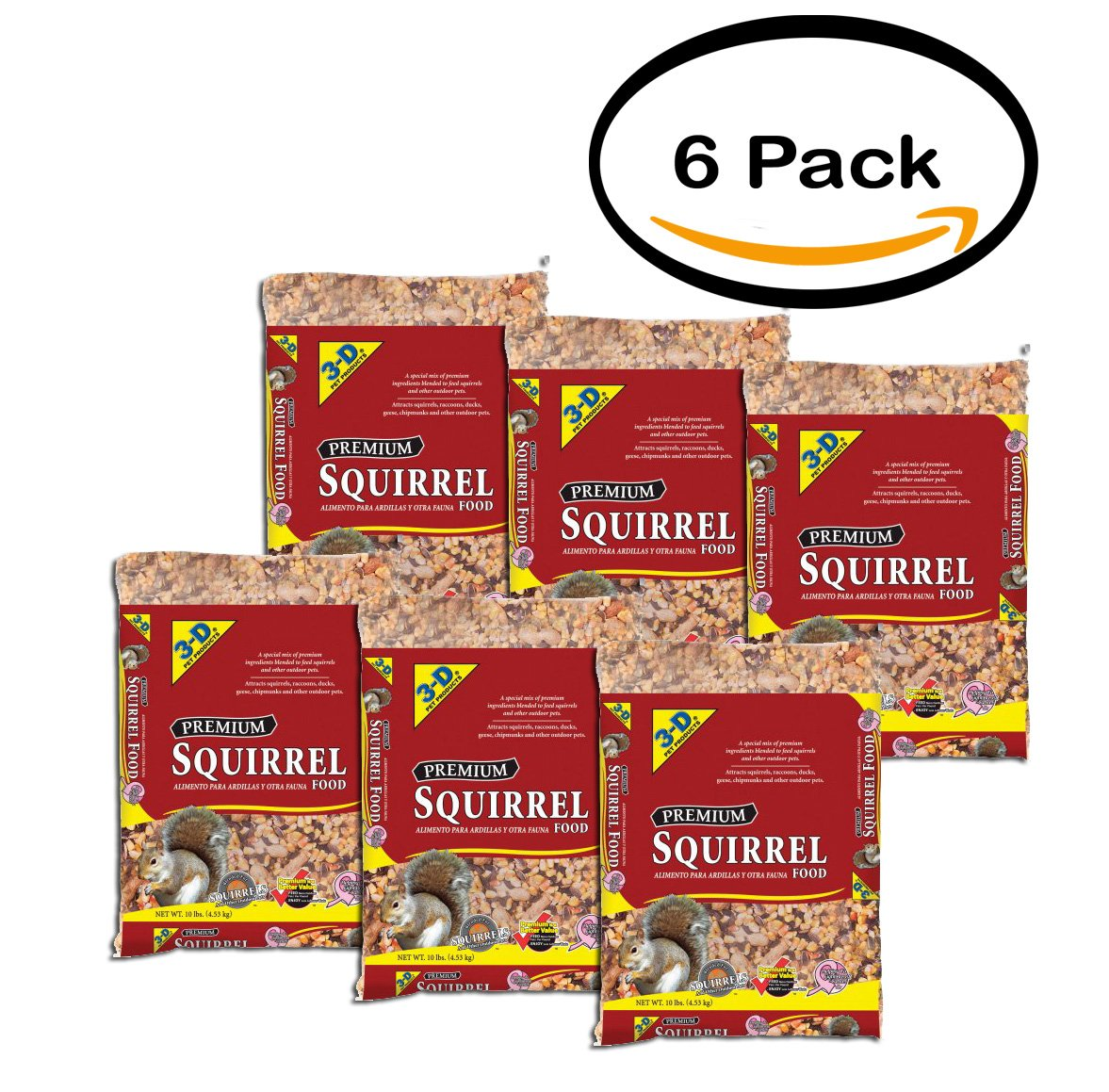 PACK OF 6 - 3D 10LB SQUIRREL FOOD by Generic