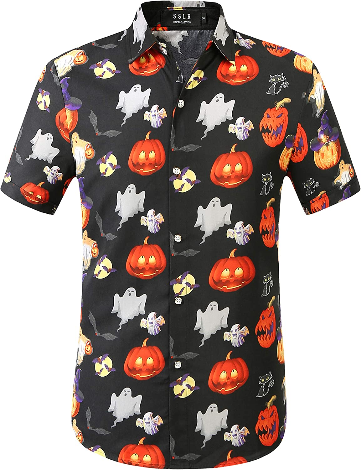 SSLR Men's Fun Pumpkins Button Down Short Sleeve Halloween Shirt