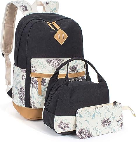 Leaper Cute Polka Dot Backpack Girls School Bag Bookbag Lunch Bag Purse Black