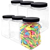 48 oz Plastic Storage Jars with Lids (Pack of 6) - Large Clear Empty Bulk Containers - Air Tight Food Grade with Grip Handles - Food Approved, BPA Free