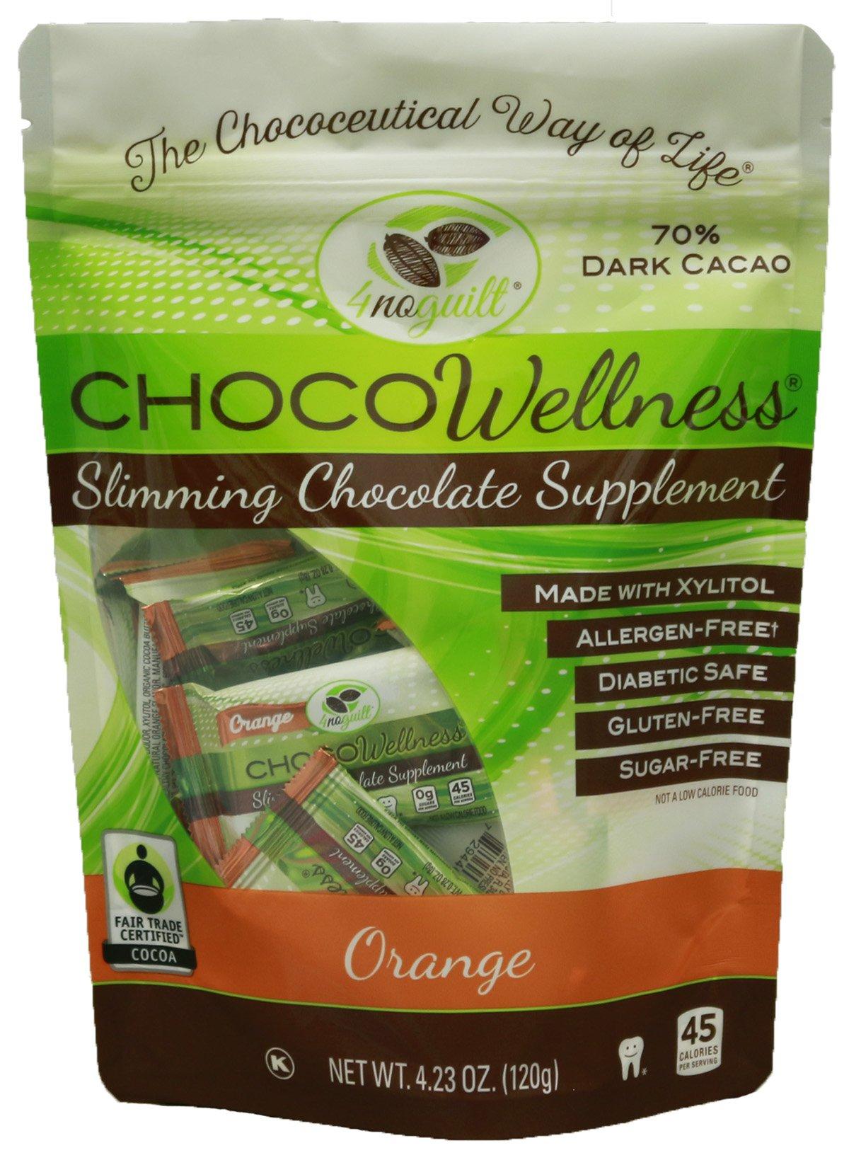 4noguilt - CHOCOWellness - 70% Sugar Free Dark Chocolate Slimming Supplement - Pack (Orange)