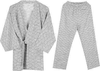 Albornoz Kimono Algodón Mujer Hombre Bata Baño Pijama Yukata Camisón Suelto Cómodo Ropa de Dormir Para Baño Spa Natación Hogar Casual con Cinturón Cintura Conjunto Pijamas Ondas Gris Claro: Amazon.es: Ropa y
