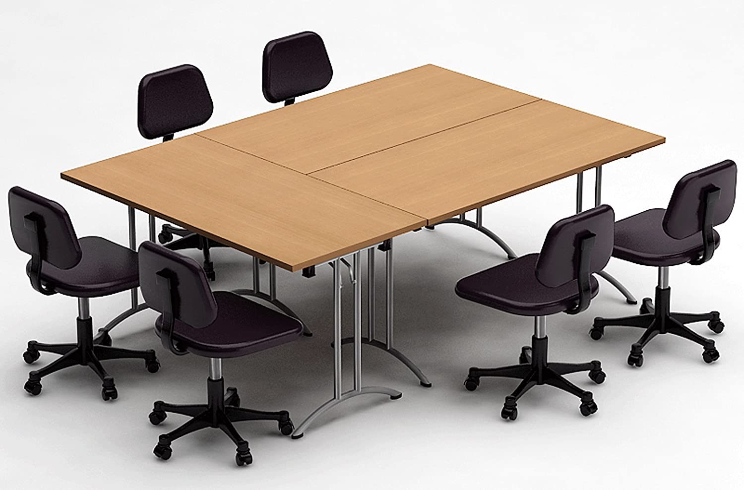 Conference Room Tables Office Products Chairs Not Included Assembled 3 Piece Combo Teamworktables 2908 Compact Space Maximum Collaboration Meeting Seminar Conference Tables Easy To Setup And Use Natural Beech