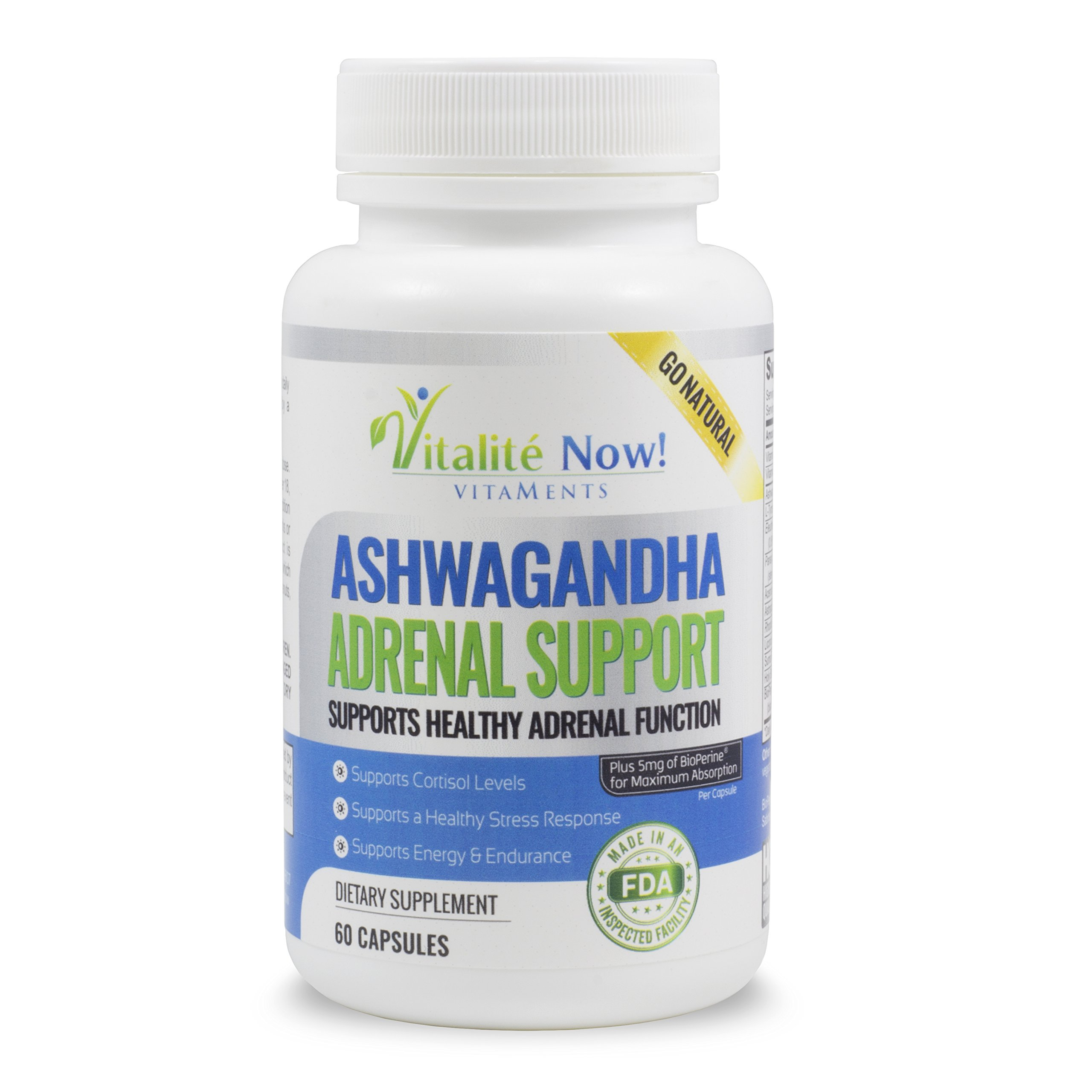 Best Adrenal Support - Ashwagandha, Vit C & B-6, L-Tyrosine, Ginseng, Licorice, Rhodiola Rosea, Holy Basil Leaf & more - Helps Fatigue, Stress, Cortisol, Energy, Calming - 60 capsules (2 mths)