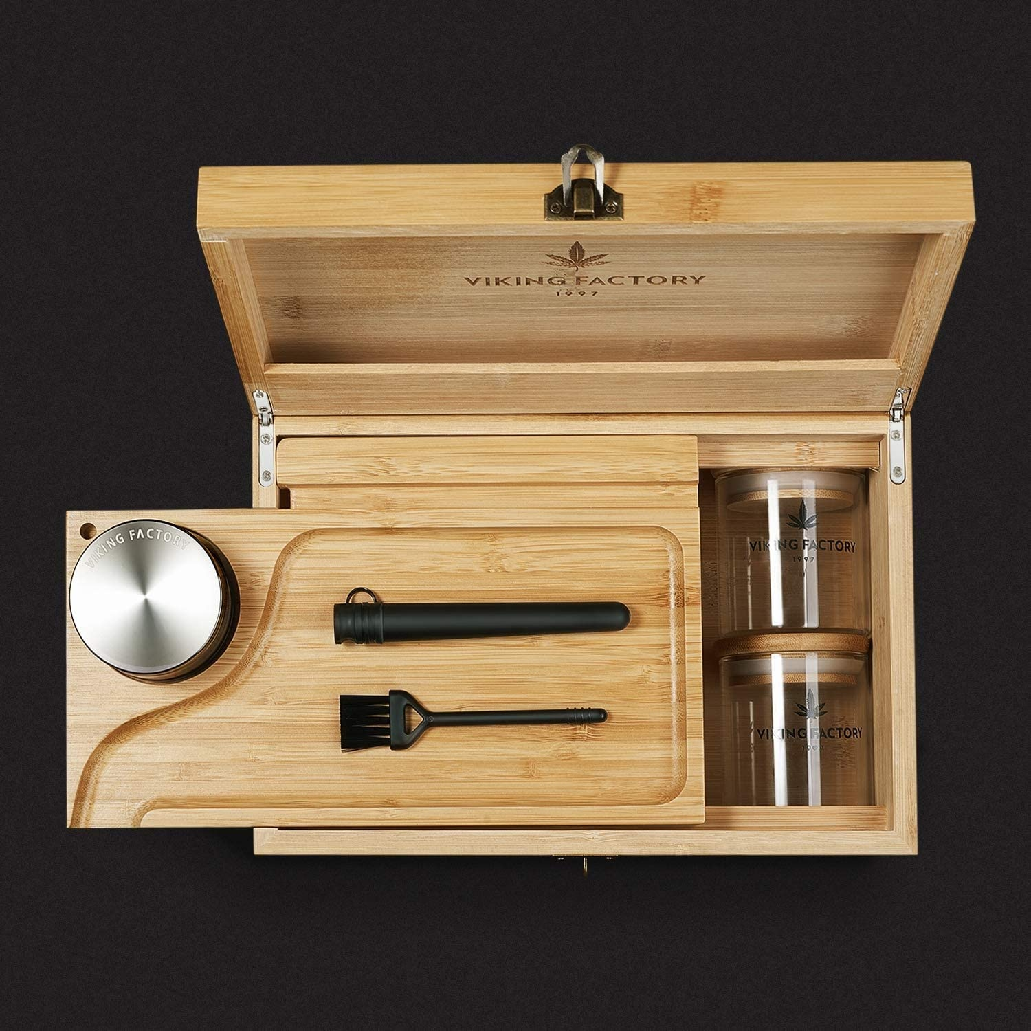 Can Be Opened and Moved. Brush and Other Tools The Tray is Dual-purpose Equipped with Glass Sealed Jar Large Stash Box with Tray Deodorizing Grinder Code Lock Made of Pure Bamboo