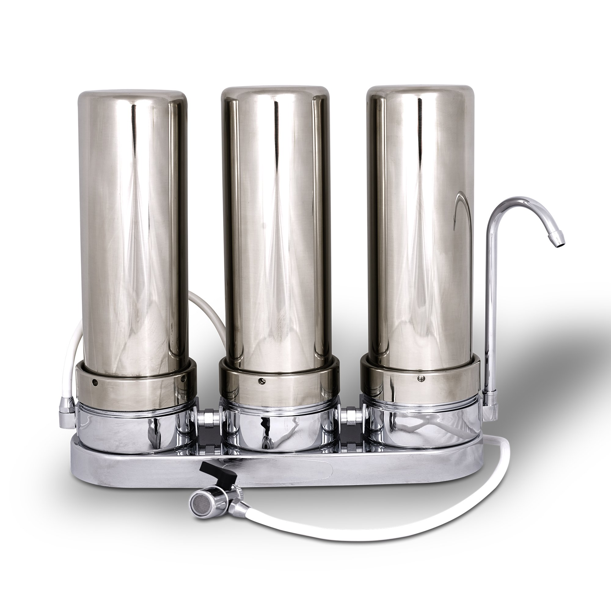Three Stages Stainless Steel Countertop Water Filtration Unit: Carbon Block, GAC & Sediment