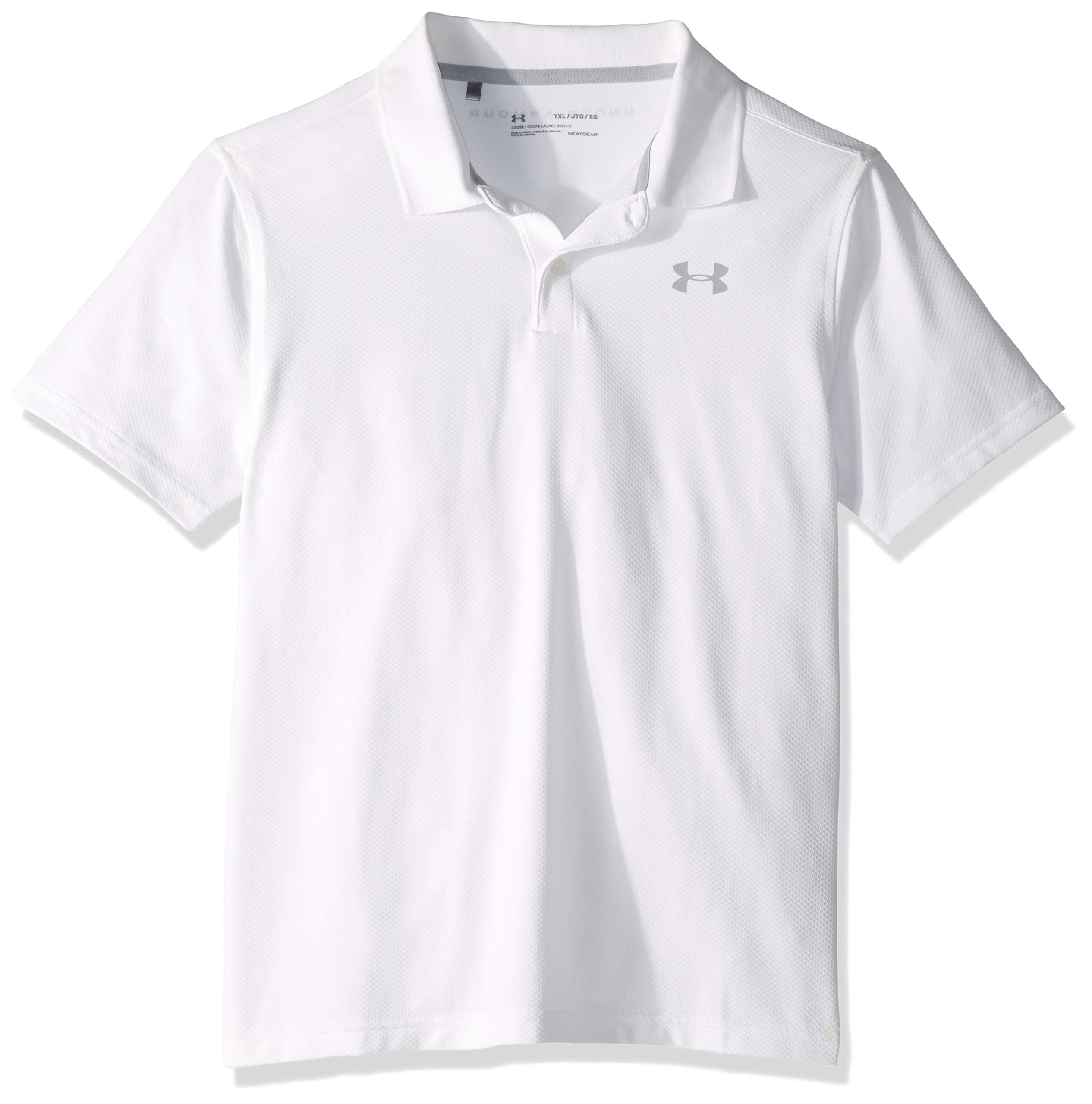 Under Armour Performance Polo 2.0, White//Mod Gray, Youth X-Small