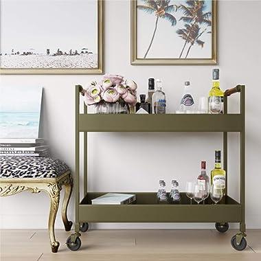 Novogratz Stella Bar Cart, Brass Finish, Leather