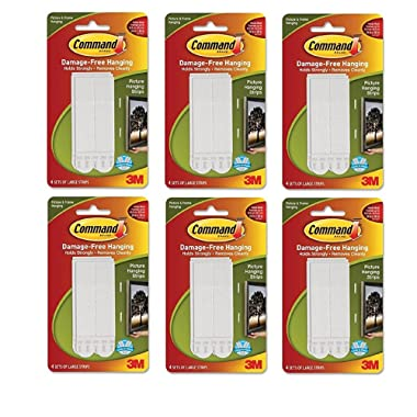 Command Large Picture-Hanging Strips, White, 24-Sets