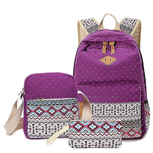 492c7c644a WSLCN Canvas Backpacks Set Girls School Bags Zipped Daypack Travel Satchel  Shoulder Messenger Bag Kids Shoulder Bag Rucksack Laptop Casual Shoulder Bag  ...