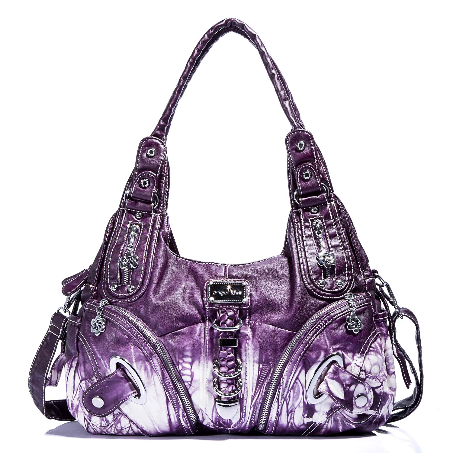Handbag Hobo Women Bag Roomy Multiple Pockets Street ladies' Shoulder Bag Fashion PU Tote Satchel Bag for Women (11282Z purple)