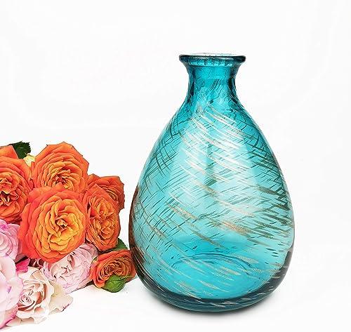 CoolXuan Glass Vase Flower Vase Art Decorative Translucent Floral Container for Table Home Decor, Blue and Golden 6.89 Blue Gold, L