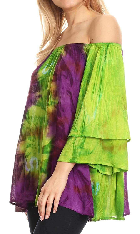 Sakkas Alania akvarell batikfärg dubbel klocka t-shirt blus Grün / Purpur
