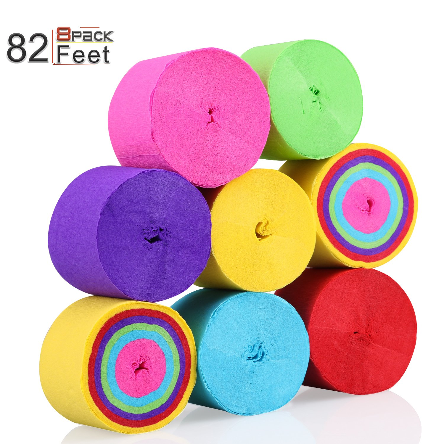 KeNeer 8 Rolls Party Streamers, Multi-color Party Decorations Crepe Paper for Birthday, Wedding, Concert and Various Festivals
