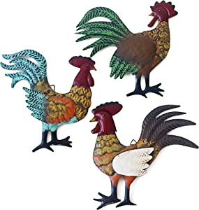 Aflowa Rooster Kitchen Decor Wall Decorative Sculptures Metal Arts, 3 Pieces/Set Chicken Decorations, Indoor/Outdoor Wall Art,Farm House Style