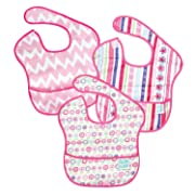 Bumkins Baby Bib, Waterproof SuperBib 3 Pack, G8 (Ribbon/Bloom/Pink Chevron) (6-24 Months)
