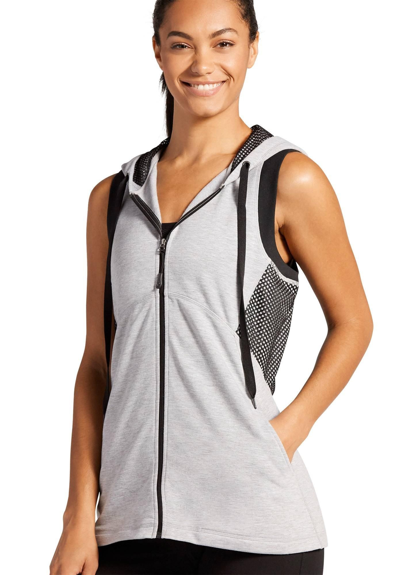 Jockey Women's Activewear Studio Zip Front Vest, Heather Grey/Black mesh, M