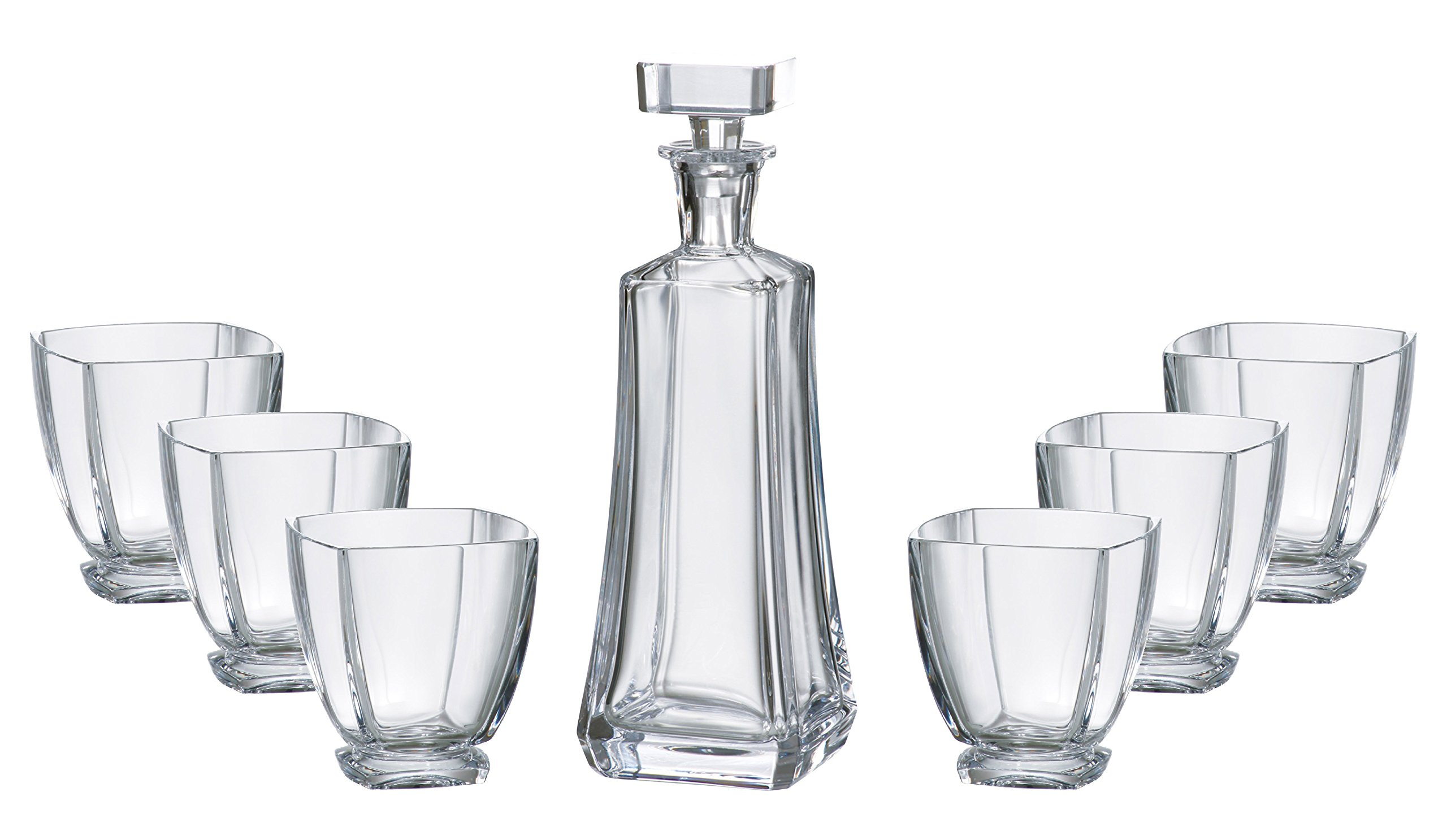 Barski - European Quality - 7 Piece Bar Set - for Whiskey - Wine - Liquer - Includes - 25 oz. Decanter - 6 pcs of 10.75 oz. Double OF Tumblers - Lead Free Crystalline - Gift Boxed - Made in Europe
