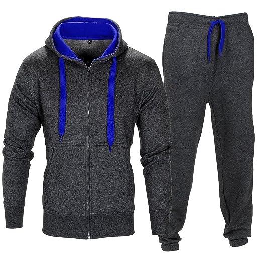 97996d9cda Men Tracksuit Set Fleece Hoodie Bottom Jogger Kids Contrast Cord Gym Active  wear