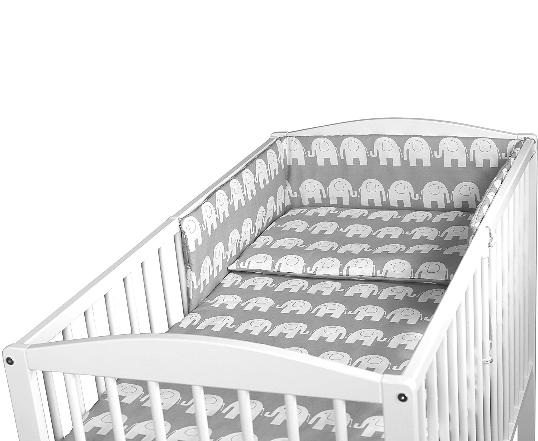 Baby Bettw/äsche Set 3PCS Kinderbett Gr/ö/ße Kissen Bettbezug Nestchen 140x70CM Rosa