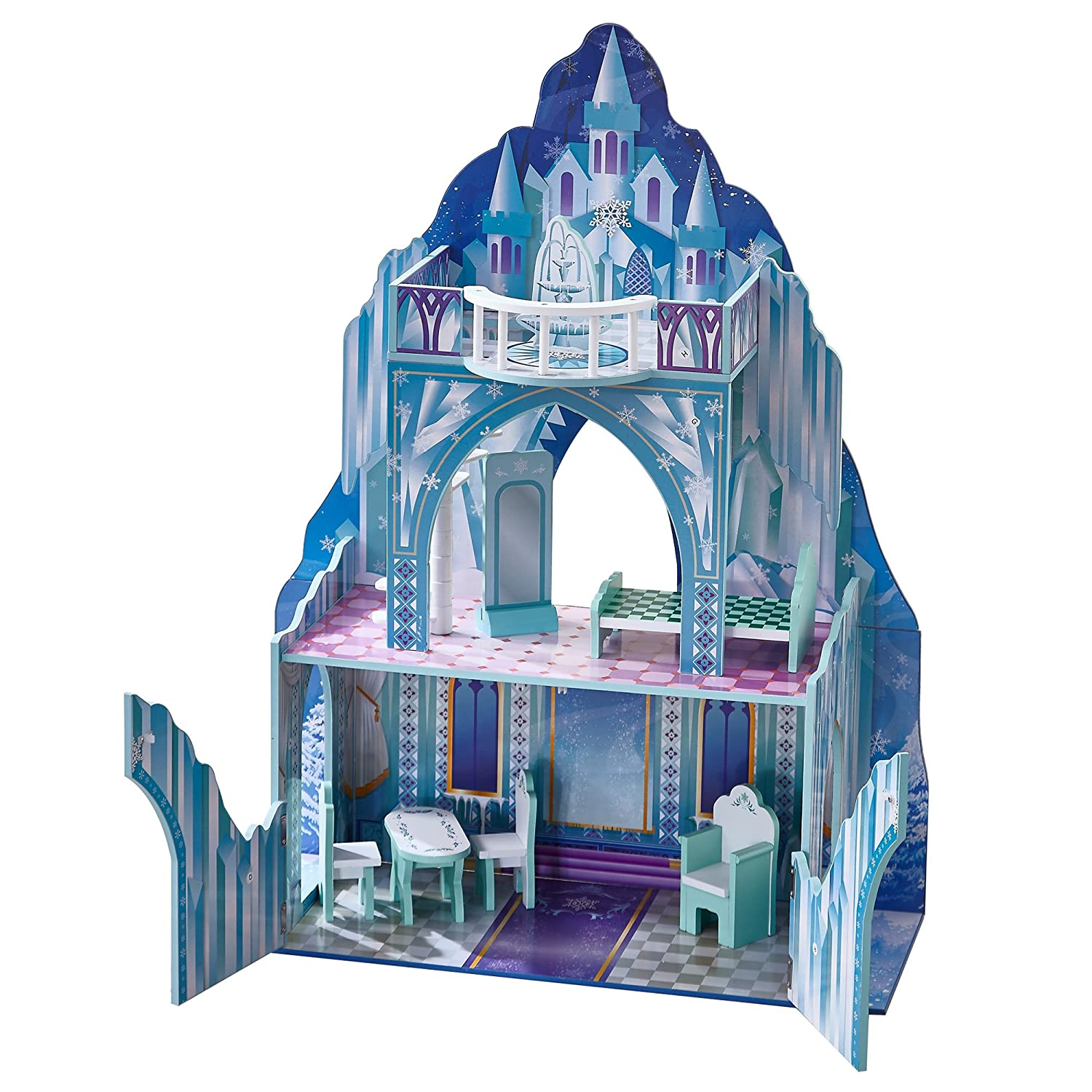 Teamson Kids - Ice Castle Wooden Doll House with 6 pcs Furniture for 12 inch Dolls Disney Frozen Inspired