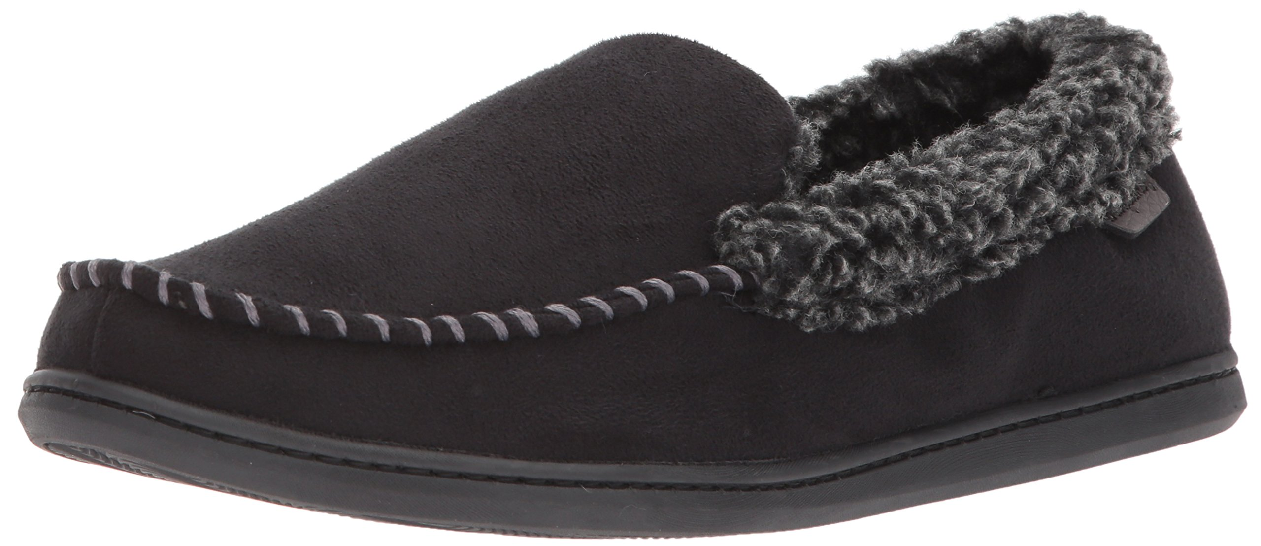 Dearfoams Men's Microfiber Suede Closed Back Moccasin Style Slipper – Padded Slip-ONS with Memory Foam Insole, Can be Worn Indoors and Outdoors