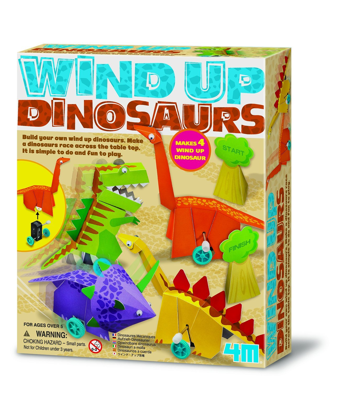 Amazon 4M Wind Up Dinosaurs Kit Toys & Games