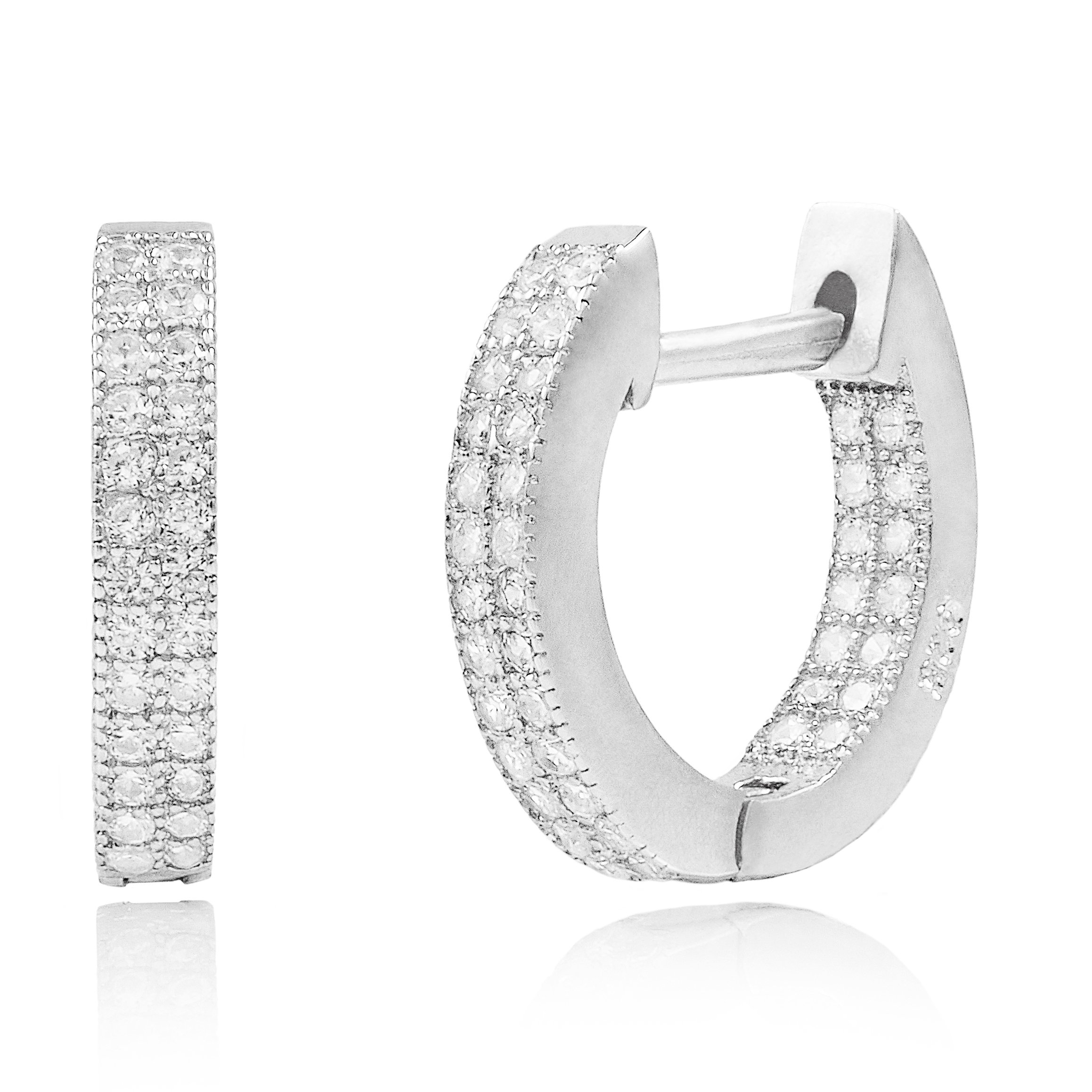 Rhodium Plated Sterling Silver In-and-Out Cubic Zirconia Huggie Hoop Earrings