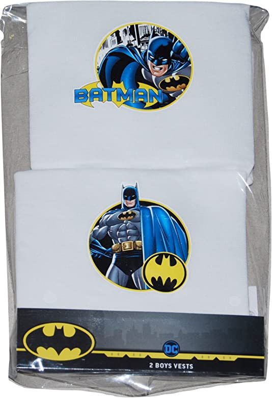 Boys Characters Batman Sleeveless Vest 3 x Pairs Multi Pack 100/% Cotton 3 to10