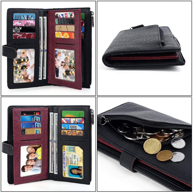 b10a46f9b3 UTO Portafoglio Porta 20 carte Grande capacità Chiusura a zip Tasca  portamonete con cerniera per ragazzo o ragazza Nero: Amazon.it: Valigeria